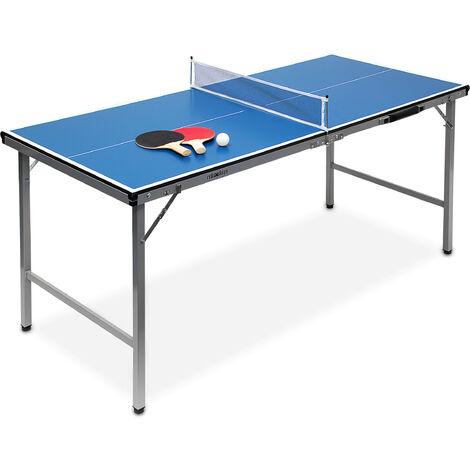 Midi table de ping-pong (150 x 67 x 71 cm) pour le salon de jardin portable intérieur ou extérieur facile à transporter inclus balles et 2 raquettes + filet, bleu