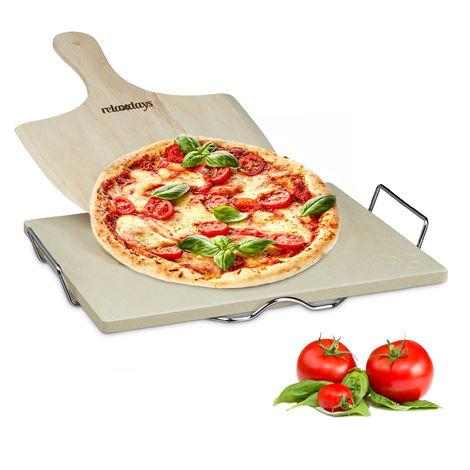 Pierre à pizza 1,5 cm épaisseur cuisson au four avec spatule en bois pour pizza et flammeküche HxlxP: 7 x 43 x 31,5 cm chaleur pierre à pain rectangle four à pizza, nature