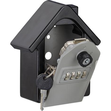 Boite à clés sécurisée forme maison clé secours code coffre fort clef key sage garage, 15x13,5x7 cm, noir/gris