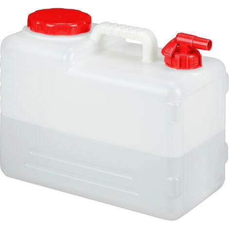 Jerricane d'eau avec robinet, couvercle à visser, bidon à eau de camping, 15 L, Sans BPA, blanc-rouge