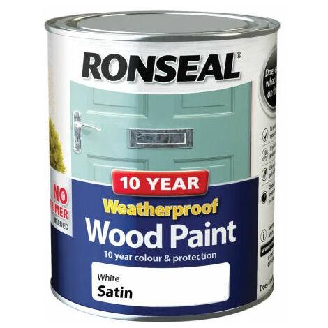 Ronseal 38787 10 Year Weatherproof 2-in-1 Wood Paint White Satin 750ml