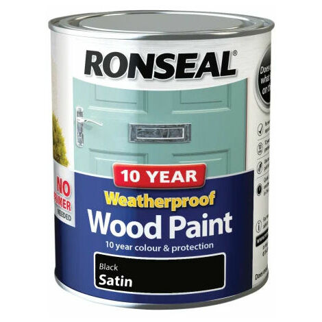 Ronseal 38786 10 Year Weatherproof 2-in-1 Wood Paint Black Satin 750ml
