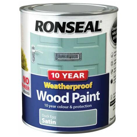 Ronseal 38792 10 Year Weatherproof 2-in-1 Wood Paint Duck Egg Blue Satin 750ml