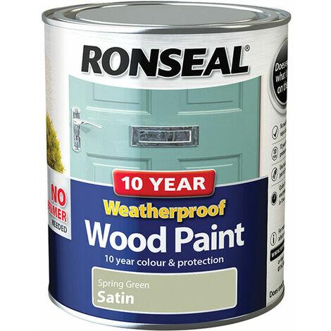 Ronseal 38790 10 Year Weatherproof 2-in-1 Wood Paint Spring Green Satin 750ml