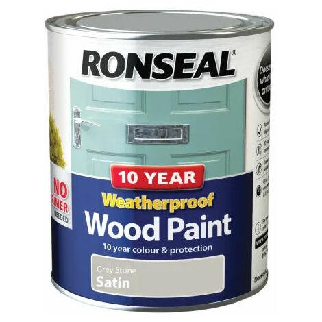 Ronseal 38791 10 Year Weatherproof 2-in-1 Wood Paint Grey Stone Satin 750ml