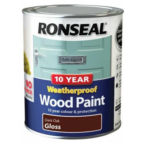 Ronseal 38774 10 Year Weatherproof 2-in-1 Wood Paint Dark Oak Gloss 750ml