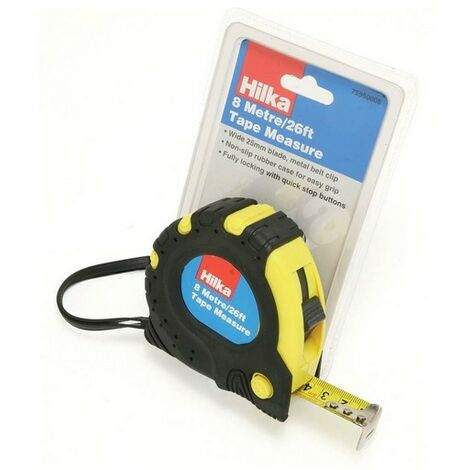 Hilka 75950008 Tape Measure 8m 25mm Wide Blade With Non Slip Rubber Case