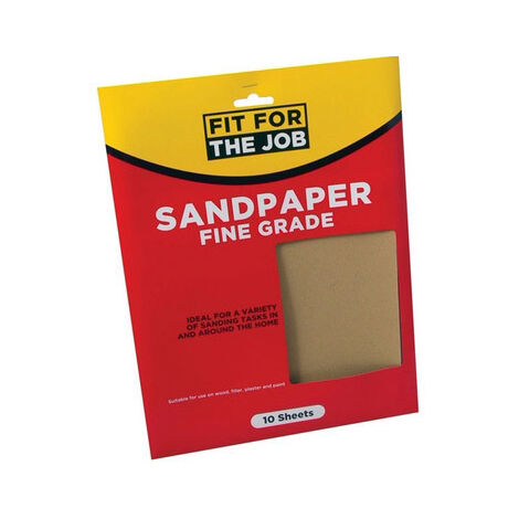 Fit For The Job FFJASP10F Sandpaper Fine Grade Grades Pack of 10