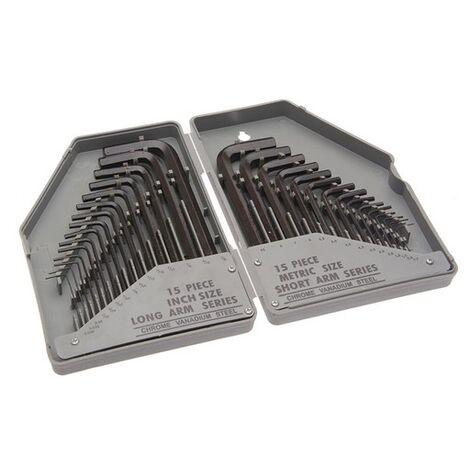 Faithfull FAIHKS30MAF Hexagon Key Set of 30 Metric / Imperial (0.7-10mm 1/16-3/8in)