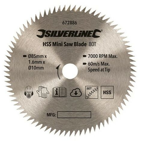 Silverline 672886 HSS Mini Saw Blade 85mm Dia - 10mm Bore - 80T