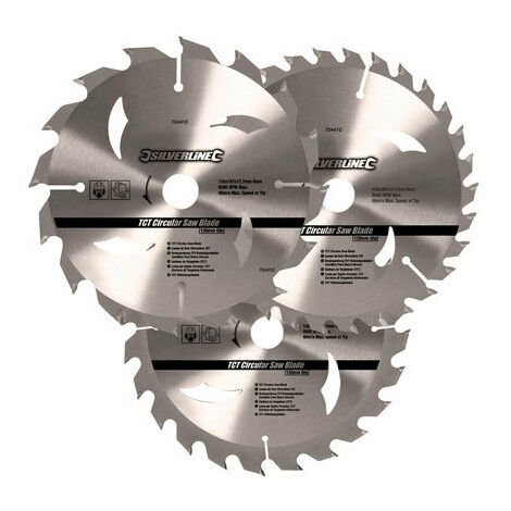 Silverline 704410 TCT Circular Saw Blades 3pk 135 x 12.7 - 10mm ring