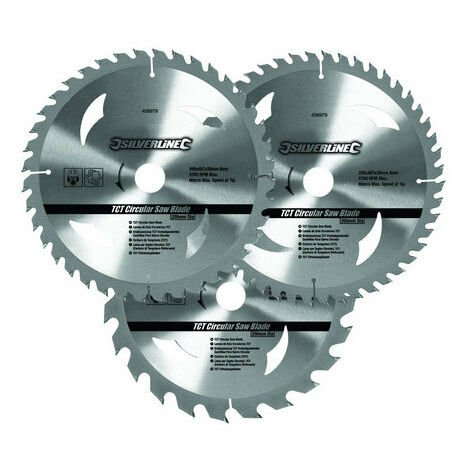 Silverline 690459 TCT Circular Saw Blades 3pk 210 x 30 - 25, 16mm rings