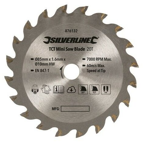 Silverline 876132 TCT Mini Saw Blade 85mm Dia - 10mm Bore - 20T