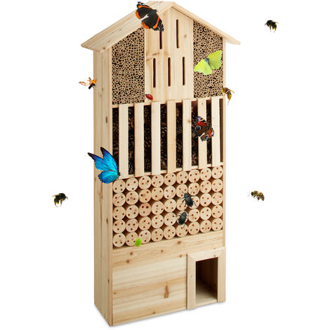 Relaxdays Free-Standing XXL Insect Hotel, Nest Help for Bees, Butterflies, Hedgehogs, Wood, HxWxD: 118 x 57 x 24 cm, Natural Brown