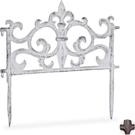 Relaxdays Cast Iron Flowerbed Fence, Vintage Design, Single Panel, Decorative Lawn Edging, HxW: 27x27cm, White