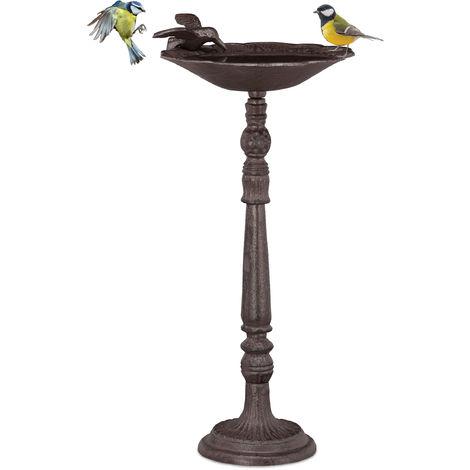 Relaxdays Cast Iron Bird Bath with Stand, Garden Decor, Bird Feeder, Water Bowl, 40 cm Tall, Brown