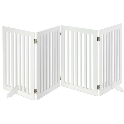 Relaxdays Wooden Safety Barrier, Adjustable Gate for Dogs & Children, Fireplace & Oven, MDF, 4 Panels, 70x206.5cm, White