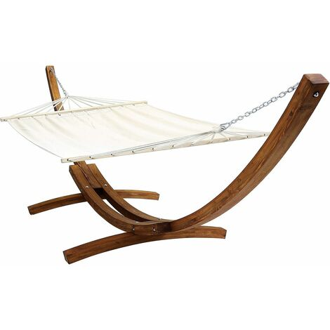 Charles Bentley Extra Large 4M Hammock With Wooden Arc Stand Two Person – Cream