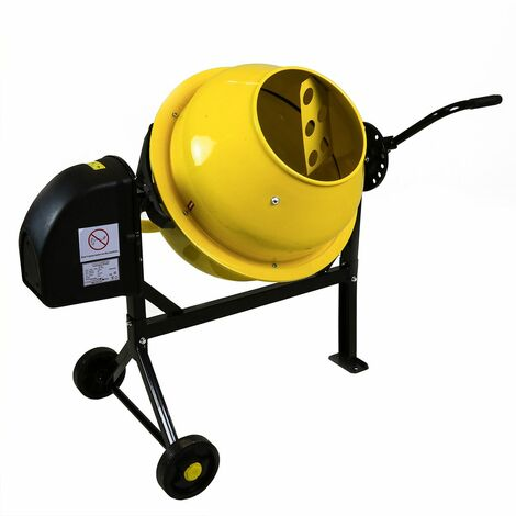 Charles Bentley 63L 230V 220W Portable Cement Concrete Sand Mixer with Wheels - Yellow