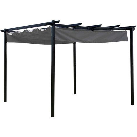 Charles Bentley 3 x 3m Steel Pergola Gazebo Modern for Garden Showerproof - Grey - Grey