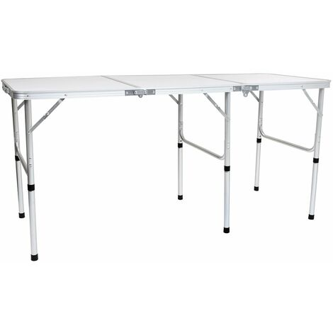 Charles Bentley Extendable Folding Lightweight Camping Triple Picnic Table 150cm - White