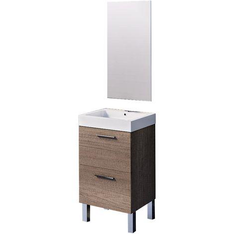 Conjunto Leiva de mueble de baño con espejo y lavamanos cerámico, de una puerta y un cajón, color nebraska, 45 x 36 x 86cm.