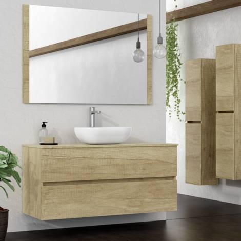 Conjunto de Mueble de Baño suspendido a la Pared, con Lavabo Sobrepuesto y Espejo con Marco de Madera, Dos cajones, 100 X 55 X 46 cm Nature