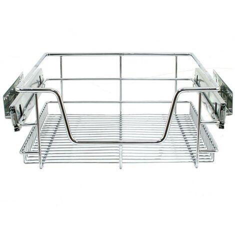4 Paniers Coulissants pour Placard ou Cabinet de Cuisine de 400mm - Argent