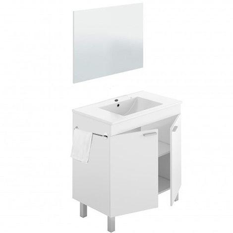 Mueble Baño de 2 puertas + Lavabo PMMA (NO clásica Cerámica) + Espejo + Taollero Acero