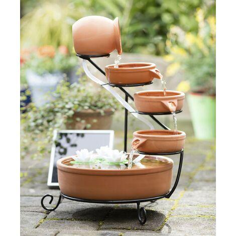 Wetelux Fontaine solaire en cascade 5 pots en terre cuite à énergie solaire - Terracotta