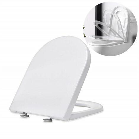 Abattant WC Frein de Chute Lunettes Toilettes en UF Couvercle de Toilette Blanc pour Salle de Bain Siège de Toilettes