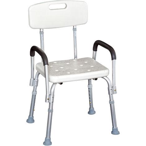 HomCom Sedia per Doccia con braccioli - Sedile da vasca con schienale, sedia regolabile in altezza