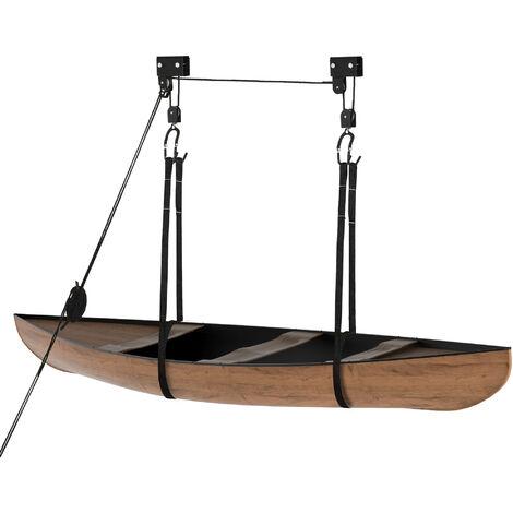 HOMCOM Paranco per Kayak Sistema di Puleggia, Ganci, Max. Carico 50kg, in Acciaio PP