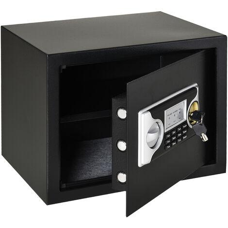 HOMCOM Mini Cassaforte Elettronica in Acciaio con Codice, Chiave di Sicurezza e Allarme, 38x30x30cm Nero
