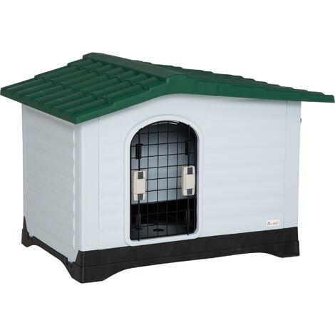 PawHut Casetta Cuccia per Cani da Esterno in Plastica con Cancello Reversibile e Finestra, 91x69x66cm, Bianco Verde