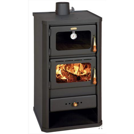 Stufa a legna con forno modello Firenze - 14 kW in acciaio colore nero opaco