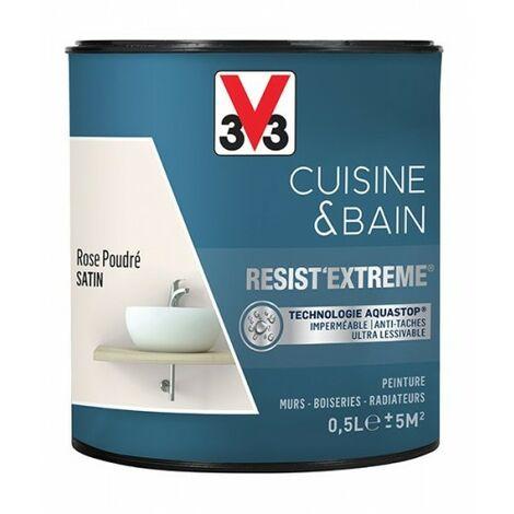 V33 Peinture Cuisine & Bain 'Resist'Extreme' Rose Poudré Satin 0,5 L - Rose poudré