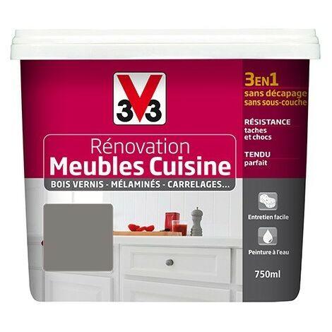 V33 Rénovation Meubles Cuisine (Bois vernis-Mélaminés-Stratifiés) Satin Seigle 0,75 L - Seigle