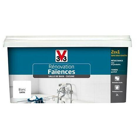 V33 Rénovation Faïences Blanc Satin 2 L - Blanc