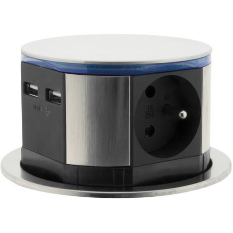 Bloc multiprise encastrable compact LED 3 prises 16A 2P+T & 2x USB - Finition Inox - Otio
