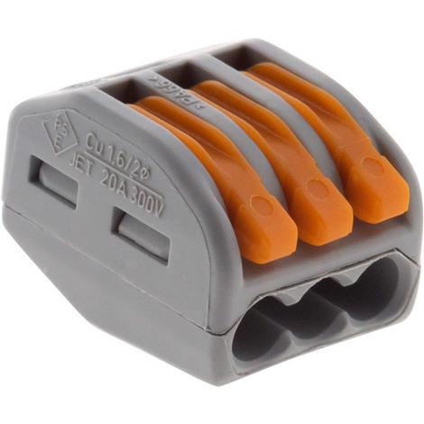 Lot de 50 mini bornes de connexion rapide à levier S222 pour fils rigides et souples - 3 entrées - Wago