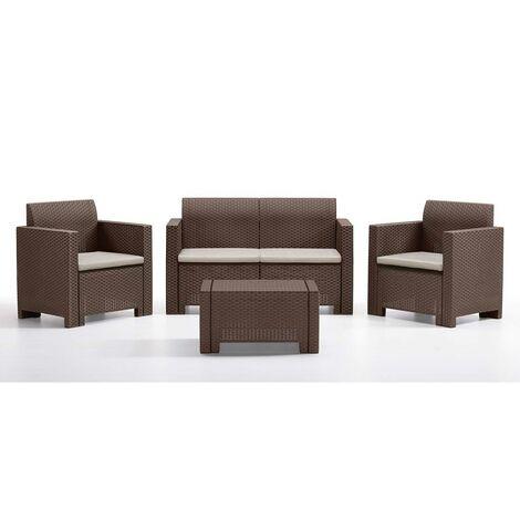 Divano due sedute con Poltrone e Tavolino/Salotto/Salottino per Esterno/Arredo Giardino - Mod. Kansas 2 Marrone/Brown