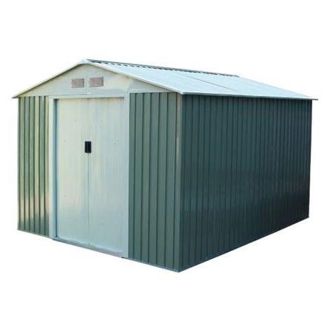 Caseta de jardín metálica verde/beige hasta 15,50 m2 - 10 años de garantía