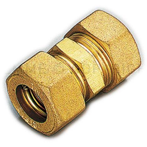 Raccordo diritto doppio a compressione con tenuta o-ring