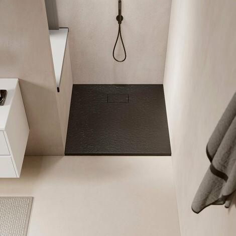 Receveur de douche extra plat PIATTO en SoliCast® surface ardoisée, rectangulaire largeur 90cm noir