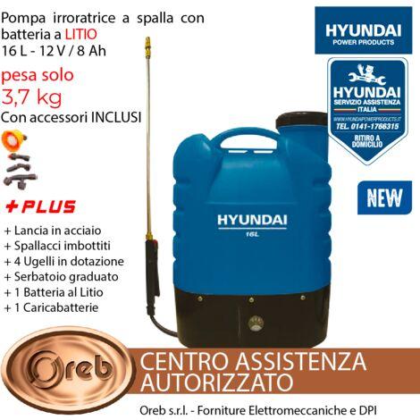 Pompa irroratrice hyundai a spalla 16 lt batteria a litio 12v autonomia 5h 25920