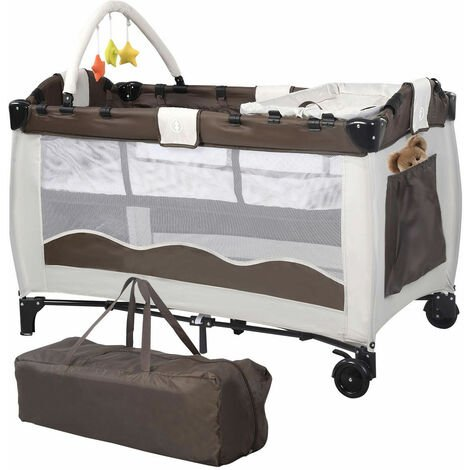 Baby Crib Foldable Playpen Portable Infant Travel Bassinet Bed Cot Bed Coffee