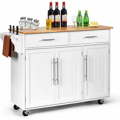 Kitchen Storage Trolley Cart Rolling Island Shelves Cupboard 3 Doors Cabinet Bar