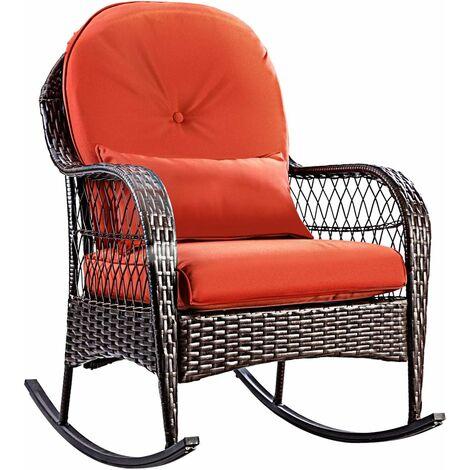 Patio Rattan Rocking Armchair Garden Wicker Chair Metal Feet Outdoor W/Cushions