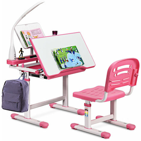 COSTWAY Kids Study Desk and Chair Set, Adjustable Children's Table with Eye-protection Lamp Pink